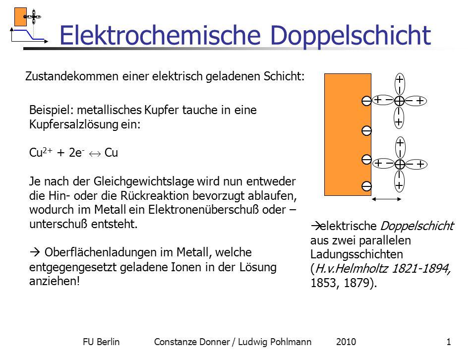 FU Berlin Constanze Donner / Ludwig Pohlmann 20101 Elektrochemische Doppelschicht Zustandekommen einer elektrisch geladenen Schicht: Beispiel: metalli