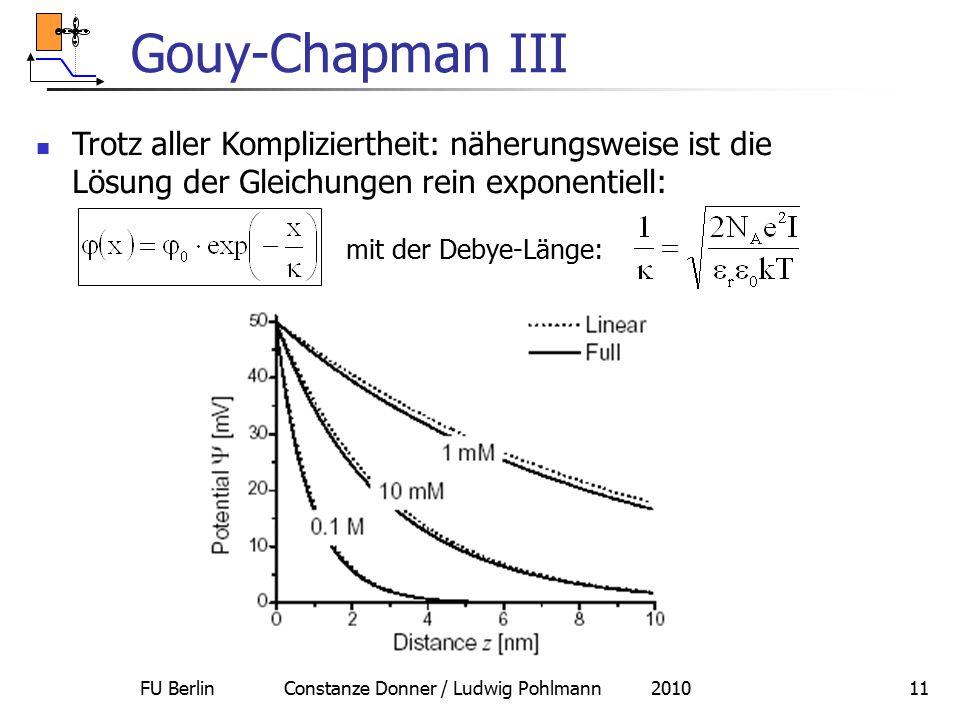 FU Berlin Constanze Donner / Ludwig Pohlmann 201011 Gouy-Chapman III Trotz aller Kompliziertheit: näherungsweise ist die Lösung der Gleichungen rein e