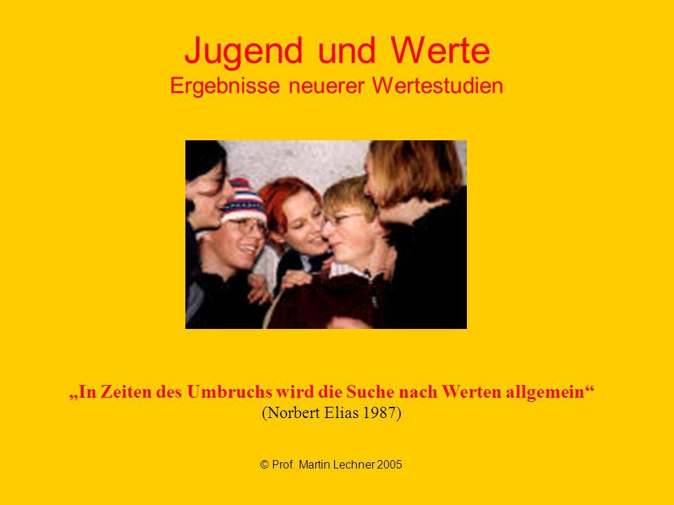 """Jugend und Werte Ergebnisse neuerer Wertestudien © Prof. Martin Lechner 2005 """"In Zeiten des Umbruchs wird die Suche nach Werten allgemein"""" (Norbert El"""