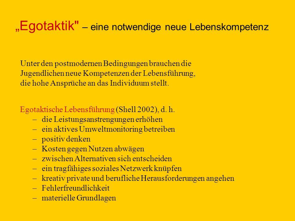 Egotaktische Lebensführung (Shell 2002), d. h. –die Leistungsanstrengungen erhöhen –ein aktives Umweltmonitoring betreiben –positiv denken –Kosten geg