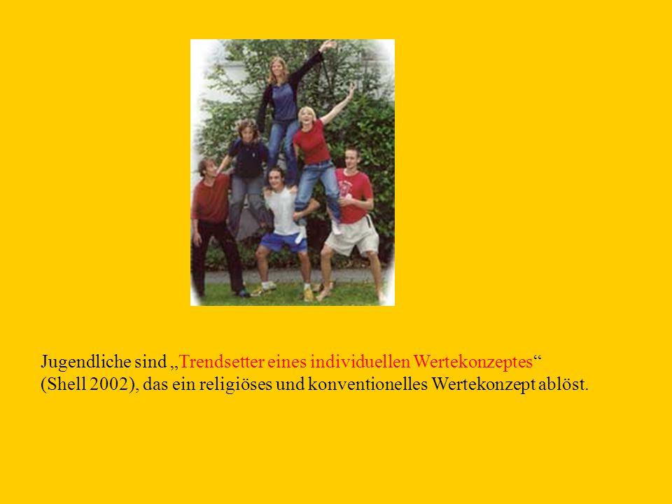"""Jugendliche sind """"Trendsetter eines individuellen Wertekonzeptes"""" (Shell 2002), das ein religiöses und konventionelles Wertekonzept ablöst."""
