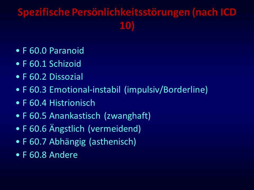 Spezifische Persönlichkeitsstörungen (nach ICD 10) F 60.0 Paranoid F 60.1 Schizoid F 60.2 Dissozial F 60.3 Emotional-instabil (impulsiv/Borderline) F