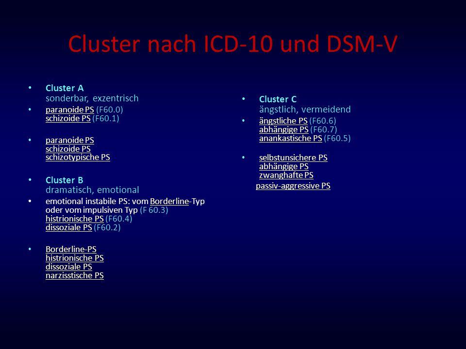 Cluster nach ICD-10 und DSM-V Cluster A sonderbar, exzentrisch paranoide PS (F60.0) schizoide PS (F60.1) paranoide PS schizoide PS paranoide PS schizo