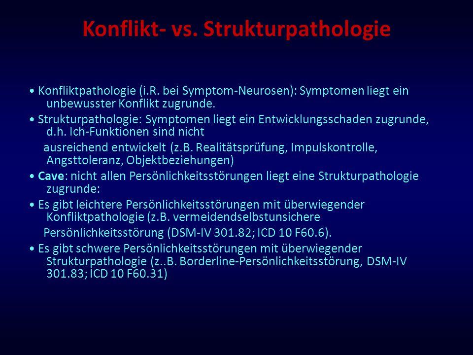 Konflikt- vs. Strukturpathologie Konfliktpathologie (i.R. bei Symptom-Neurosen): Symptomen liegt ein unbewusster Konflikt zugrunde. Strukturpathologie
