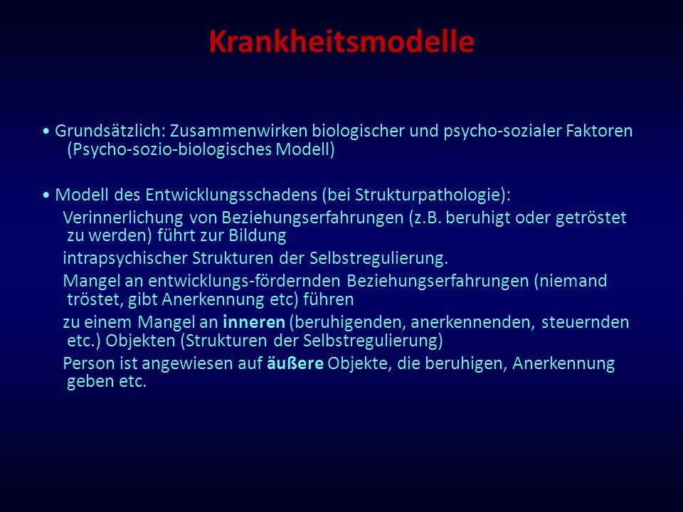 Krankheitsmodelle Grundsätzlich: Zusammenwirken biologischer und psycho-sozialer Faktoren (Psycho-sozio-biologisches Modell) Modell des Entwicklungssc