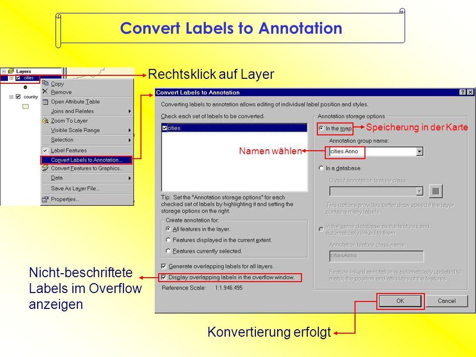 Convert Labels to Annotation Rechtsklick auf Layer Speicherung in der Karte Namen wählen Nicht-beschriftete Labels im Overflow anzeigen Konvertierung erfolgt