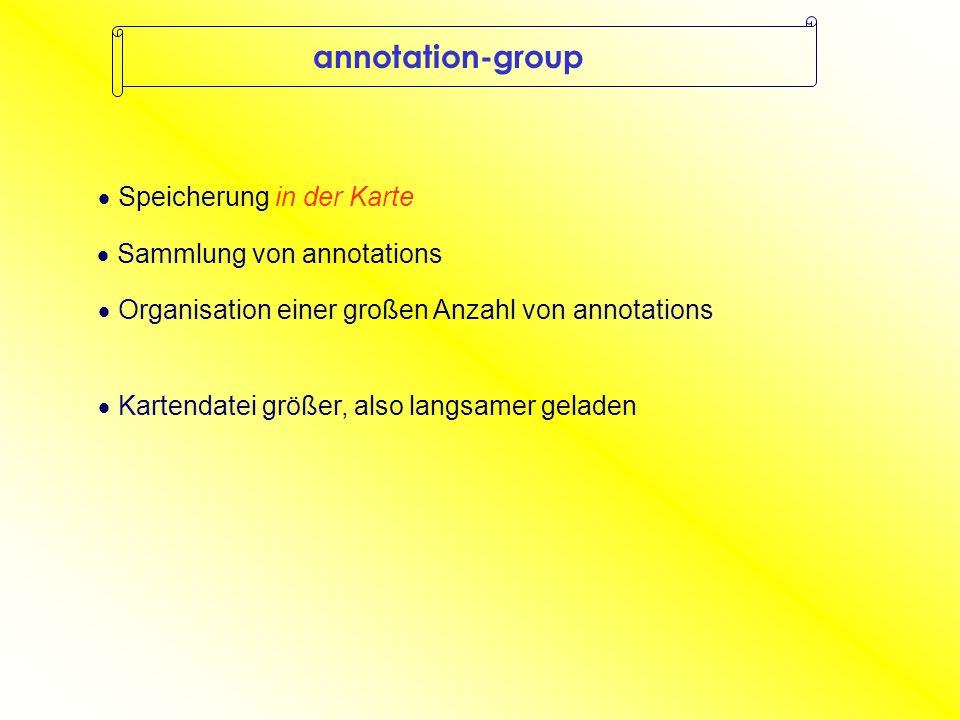 annotation-group  Sammlung von annotations  Organisation einer großen Anzahl von annotations  Speicherung in der Karte  Kartendatei größer, also langsamer geladen