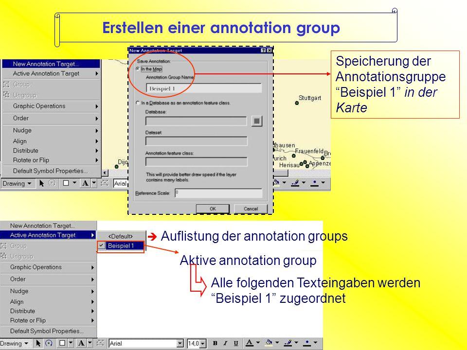 Erstellen einer annotation group  Auflistung der annotation groups Aktive annotation group Speicherung der Annotationsgruppe Beispiel 1 in der Karte Alle folgenden Texteingaben werden Beispiel 1 zugeordnet