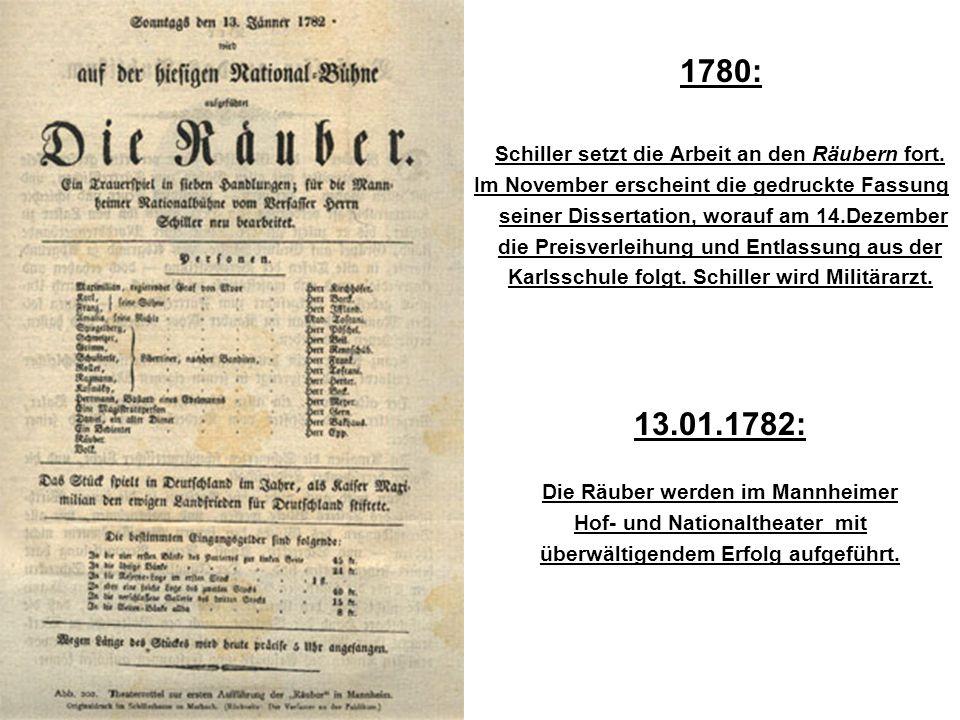 1780: Schiller setzt die Arbeit an den Räubern fort. Im November erscheint die gedruckte Fassung seiner Dissertation, worauf am 14.Dezember die Preisv