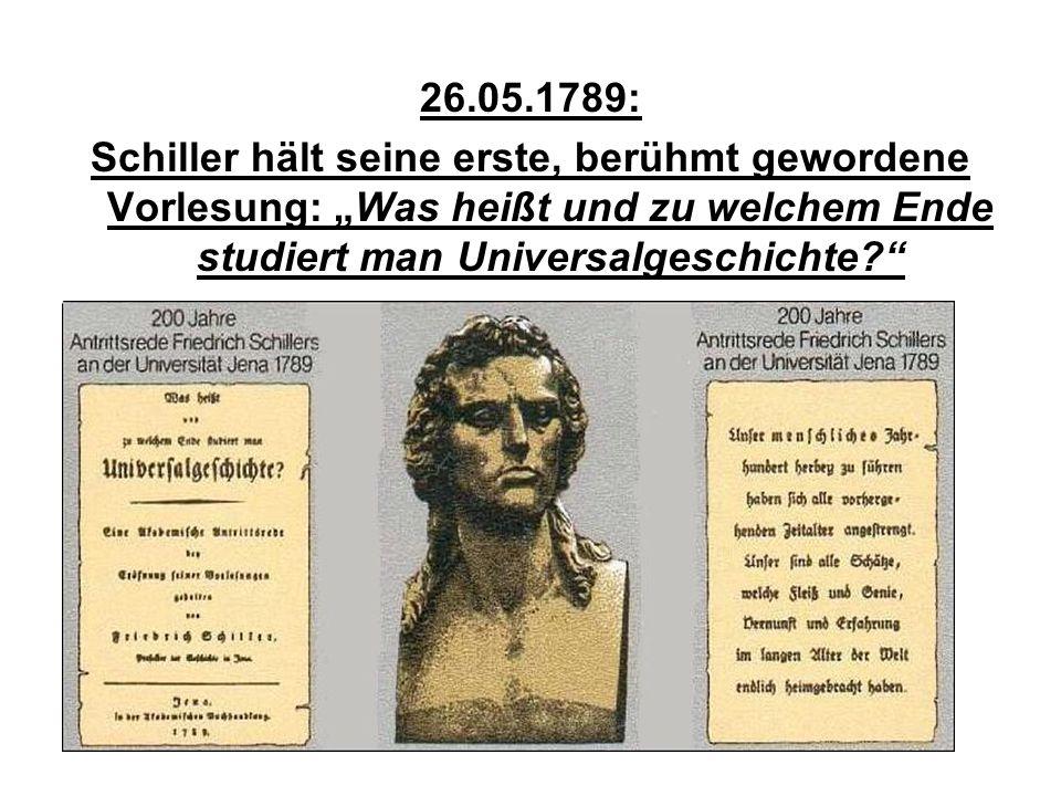 """26.05.1789: Schiller hält seine erste, berühmt gewordene Vorlesung: """"Was heißt und zu welchem Ende studiert man Universalgeschichte?"""""""