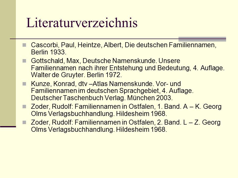 Literaturverzeichnis Cascorbi, Paul, Heintze, Albert, Die deutschen Familiennamen, Berlin 1933. Gottschald, Max, Deutsche Namenskunde. Unsere Familien