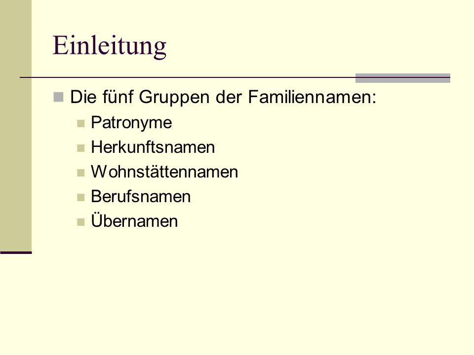 Einleitung Die fünf Gruppen der Familiennamen: Patronyme Herkunftsnamen Wohnstättennamen Berufsnamen Übernamen