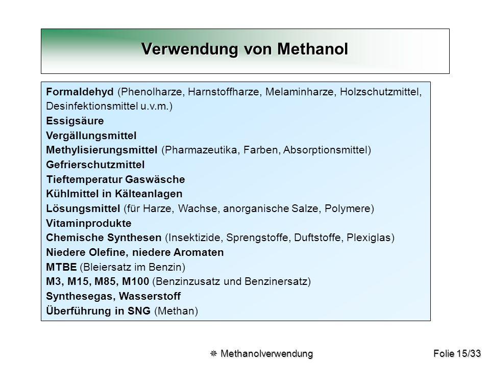 Folie 15/33 Formaldehyd (Phenolharze, Harnstoffharze, Melaminharze, Holzschutzmittel, Desinfektionsmittel u.v.m.) Essigsäure Vergällungsmittel Methyli