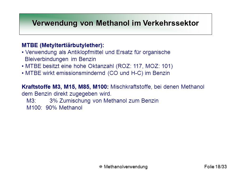 Folie 18/33 Verwendung von Methanol im Verkehrssektor MTBE (Metyltertiärbutylether): Verwendung als Antiklopfmittel und Ersatz für organische Bleiverb