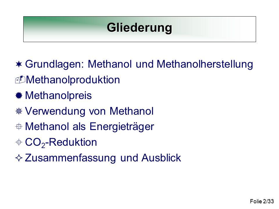 Folie 2/33 ¬ Grundlagen: Methanol und Methanolherstellung  Methanolproduktion ® Methanolpreis ¯ Verwendung von Methanol ° Methanol als Energieträger