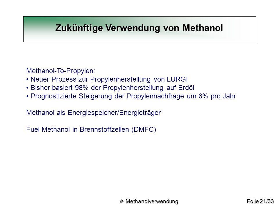 Folie 21/33 Zukünftige Verwendung von Methanol  Methanolverwendung  Methanolverwendung Methanol-To-Propylen: Neuer Prozess zur Propylenherstellung v