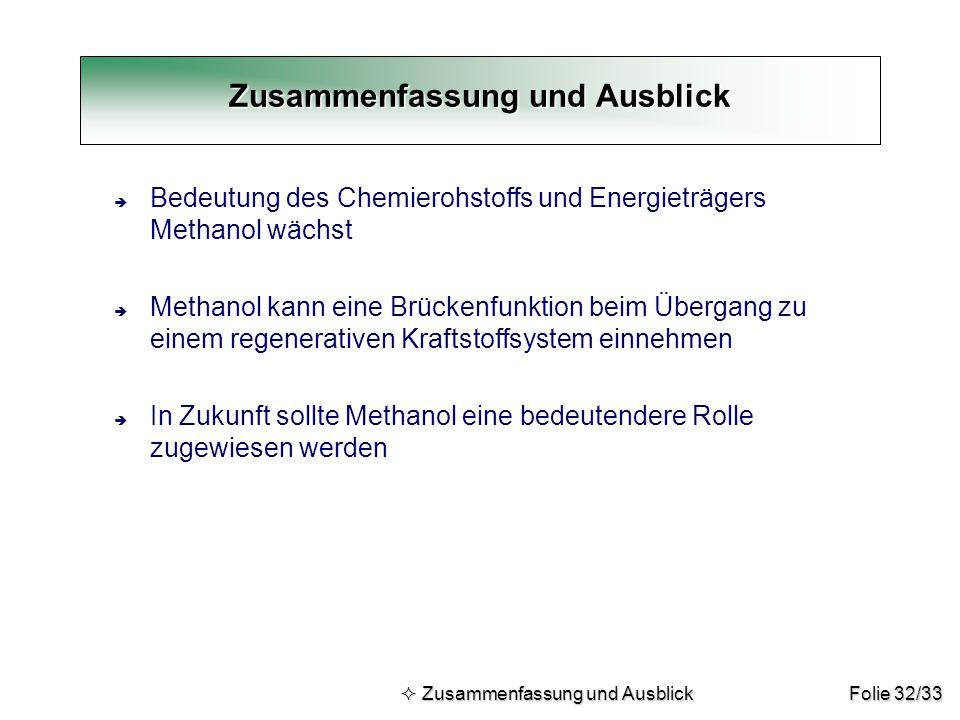 Folie 32/33 Zusammenfassung und Ausblick  Zusammenfassung und Ausblick  Zusammenfassung und Ausblick è Bedeutung des Chemierohstoffs und Energieträg