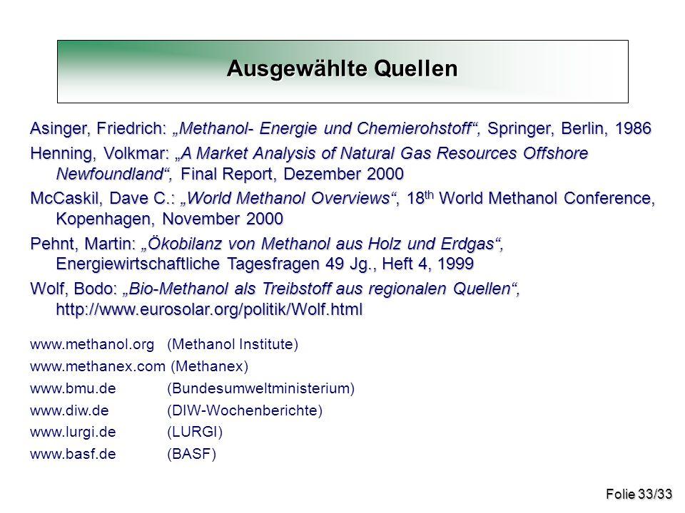 """Folie 33/33 Ausgewählte Quellen Asinger, Friedrich: """"Methanol- Energie und Chemierohstoff"""", Springer, Berlin, 1986 Henning, Volkmar: """"A Market Analysi"""