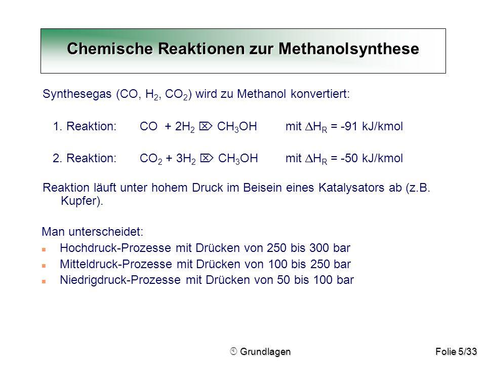 Folie 5/33 Synthesegas (CO, H 2, CO 2 ) wird zu Methanol konvertiert: 1. Reaktion: CO + 2H 2  CH 3 OHmit  H R = -91 kJ/kmol 2. Reaktion:CO 2 + 3H 2
