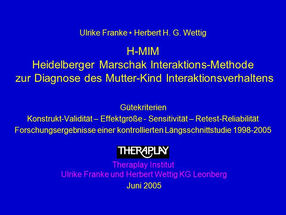 Ulrike Franke Herbert H. G. Wettig H-MIM Heidelberger Marschak Interaktions-Methode zur Diagnose des Mutter-Kind Interaktionsverhaltens Gütekriterien