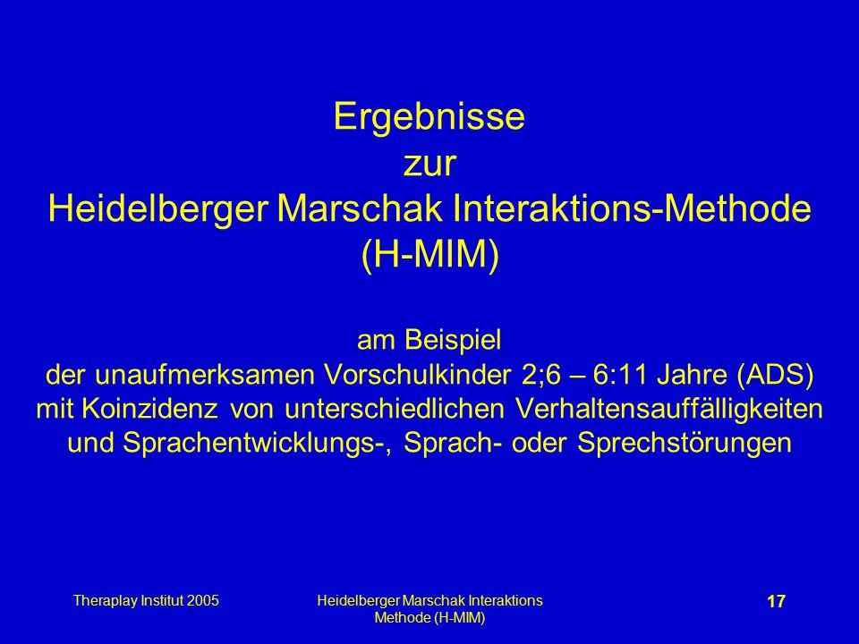 Theraplay Institut 2005Heidelberger Marschak Interaktions Methode (H-MIM) 17 Ergebnisse zur Heidelberger Marschak Interaktions-Methode (H-MIM) am Beis