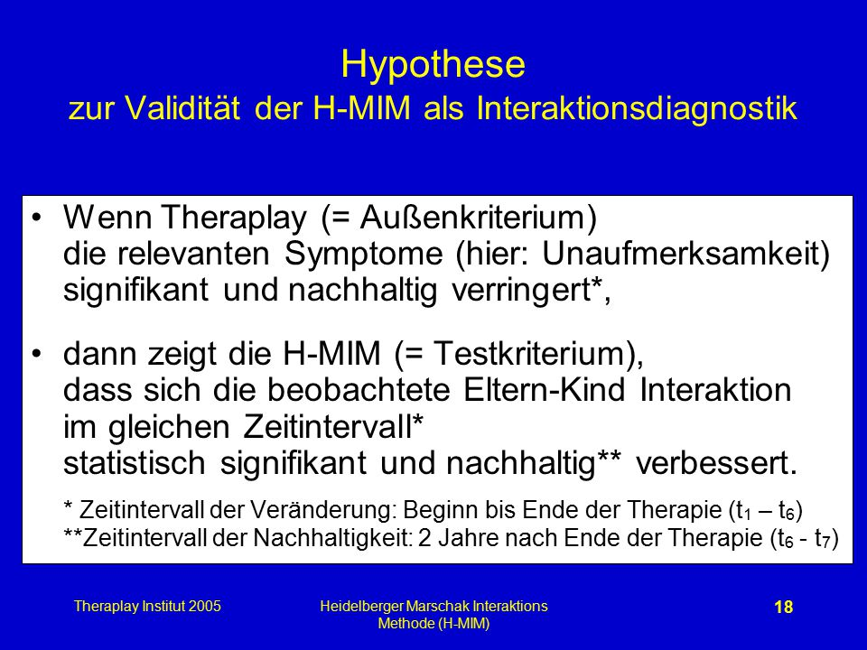 Theraplay Institut 2005Heidelberger Marschak Interaktions Methode (H-MIM) 18 Hypothese zur Validität der H-MIM als Interaktionsdiagnostik Wenn Therapl