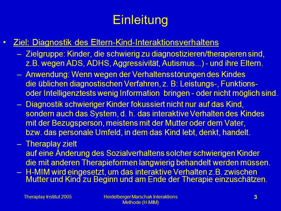 Theraplay Institut 2005Heidelberger Marschak Interaktions Methode (H-MIM) 3 Einleitung Ziel: Diagnostik des Eltern-Kind-Interaktionsverhaltens –Zielgr