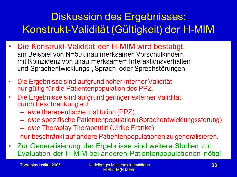 Theraplay Institut 2005Heidelberger Marschak Interaktions Methode (H-MIM) 33 Diskussion des Ergebnisses: Konstrukt-Validität (Gültigkeit) der H-MIM Di
