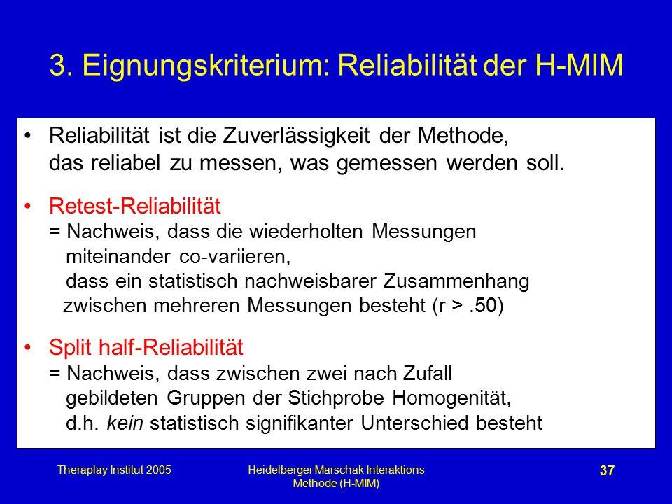 Theraplay Institut 2005Heidelberger Marschak Interaktions Methode (H-MIM) 37 3. Eignungskriterium: Reliabilität der H-MIM Reliabilität ist die Zuverlä