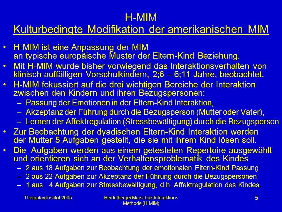 Theraplay Institut 2005Heidelberger Marschak Interaktions Methode (H-MIM) 5 H-MIM Kulturbedingte Modifikation der amerikanischen MIM H-MIM ist eine An