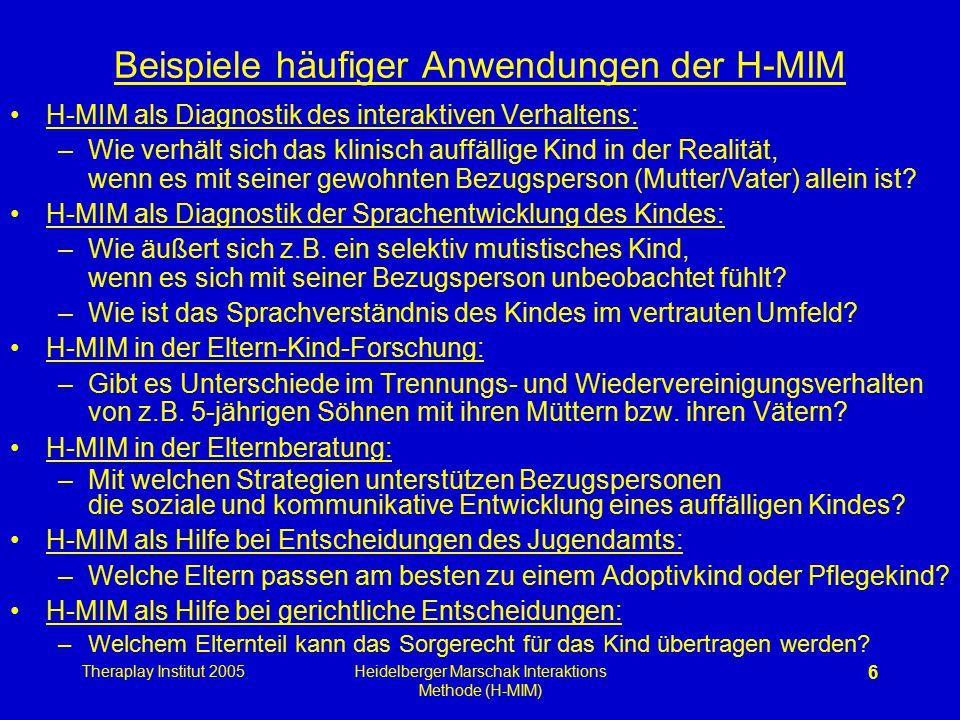Theraplay Institut 2005Heidelberger Marschak Interaktions Methode (H-MIM) 6 Beispiele häufiger Anwendungen der H-MIM H-MIM als Diagnostik des interakt