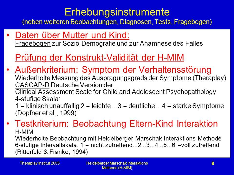 Theraplay Institut 2005Heidelberger Marschak Interaktions Methode (H-MIM) 8 Erhebungsinstrumente (neben weiteren Beobachtungen, Diagnosen, Tests, Frag