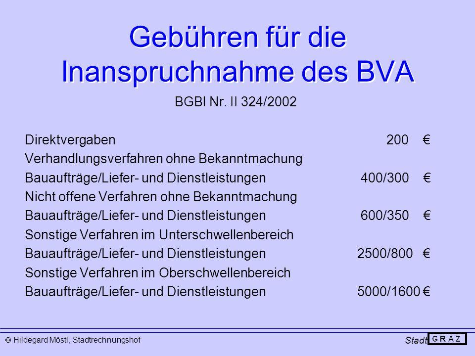 Gebühren für die Inanspruchnahme des BVA Stadt  Hildegard Möstl, Stadtrechnungshof BGBl Nr. II 324/2002 Direktvergaben 200 € Verhandlungsverfahren oh