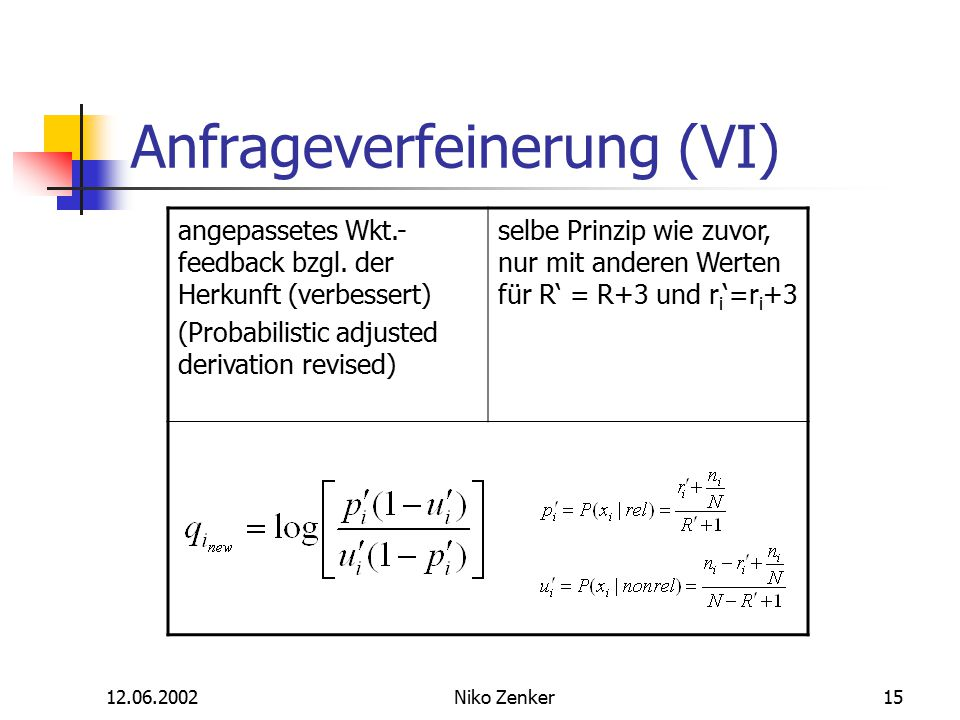 12.06.2002Niko Zenker15 Anfrageverfeinerung (VI) angepassetes Wkt.- feedback bzgl. der Herkunft (verbessert) (Probabilistic adjusted derivation revise