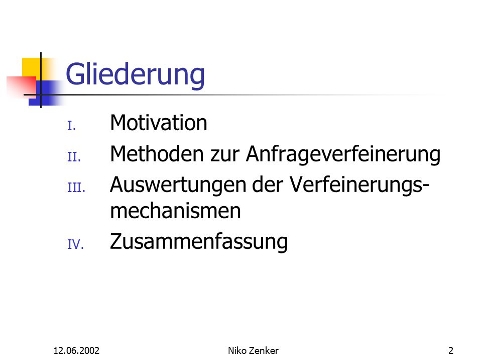 12.06.2002Niko Zenker2 Gliederung I.Motivation II.