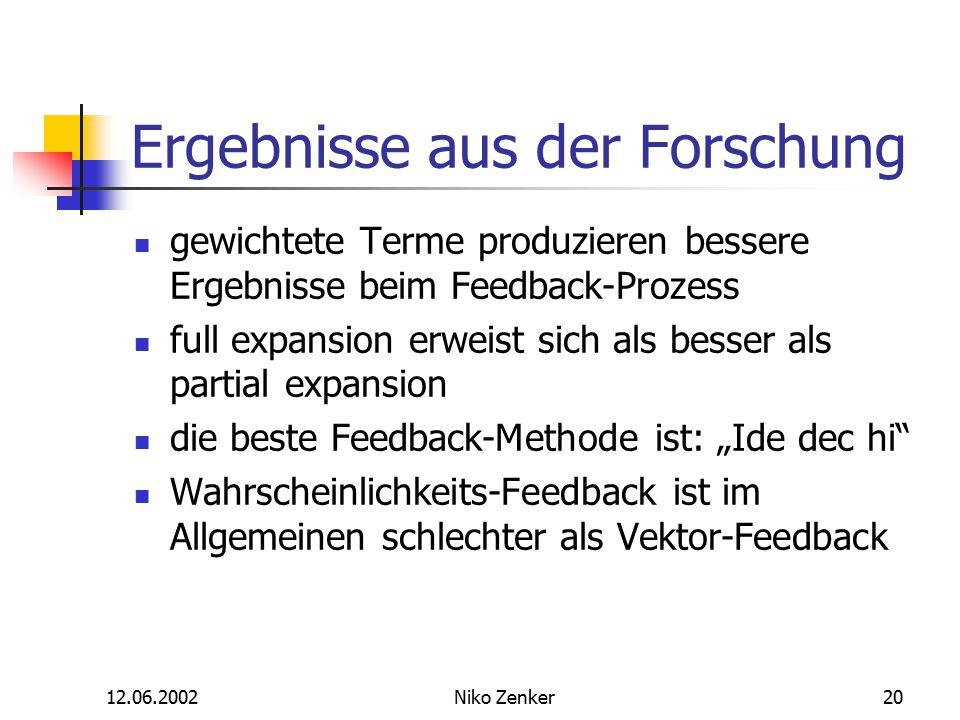 12.06.2002Niko Zenker20 Ergebnisse aus der Forschung gewichtete Terme produzieren bessere Ergebnisse beim Feedback-Prozess full expansion erweist sich