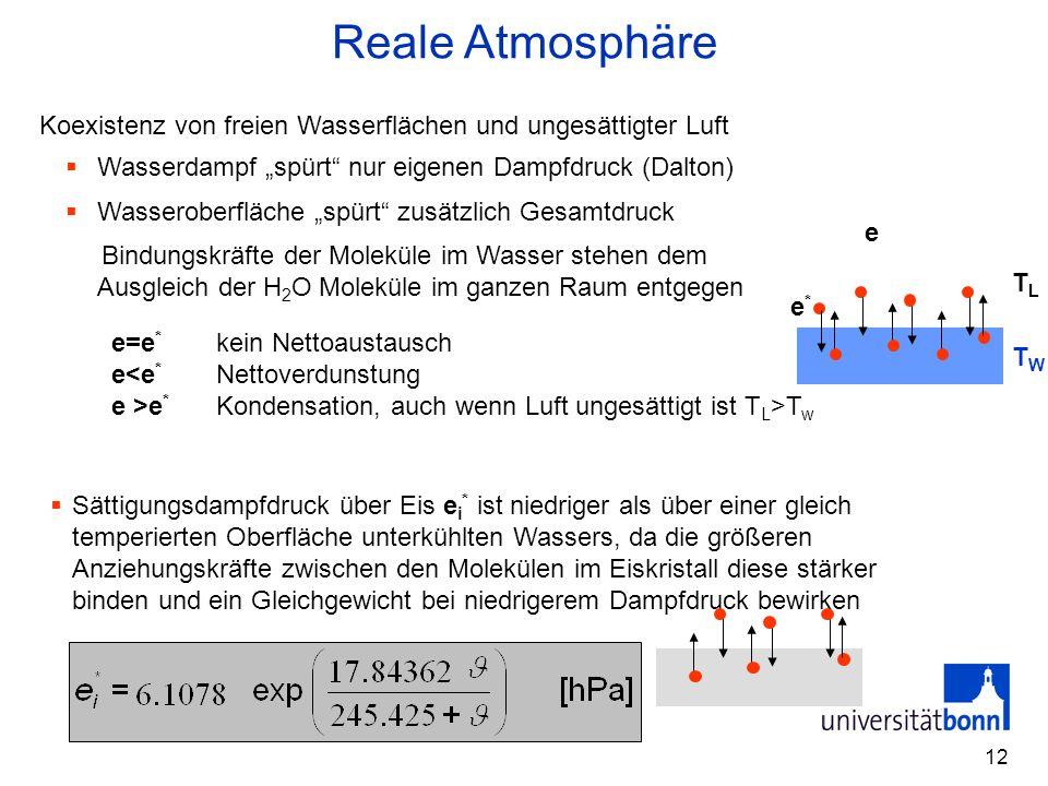 12  Sättigungsdampfdruck über Eis e i * ist niedriger als über einer gleich temperierten Oberfläche unterkühlten Wassers, da die größeren Anziehungsk