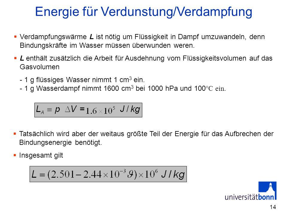 14  Tatsächlich wird aber der weitaus größte Teil der Energie für das Aufbrechen der Bindungsenergie benötigt.  Insgesamt gilt Energie für Verdunstu
