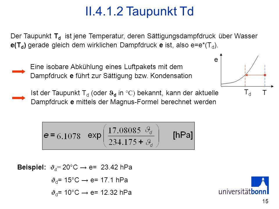 15 II.4.1.2 Taupunkt Td Der Taupunkt T d ist jene Temperatur, deren Sättigungsdampfdruck über Wasser e(T d ) gerade gleich dem wirklichen Dampfdruck e