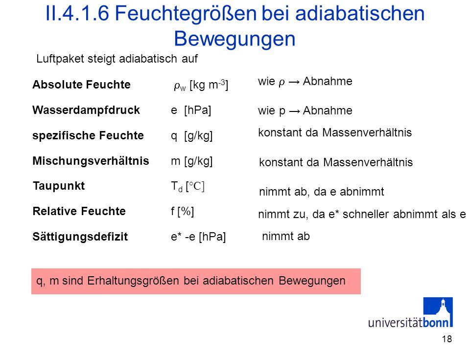 18 II.4.1.6 Feuchtegrößen bei adiabatischen Bewegungen Absolute Feuchte  w [kg m -3 ] Wasserdampfdruck e [hPa] spezifische Feuchte q [g/kg] Mischungs