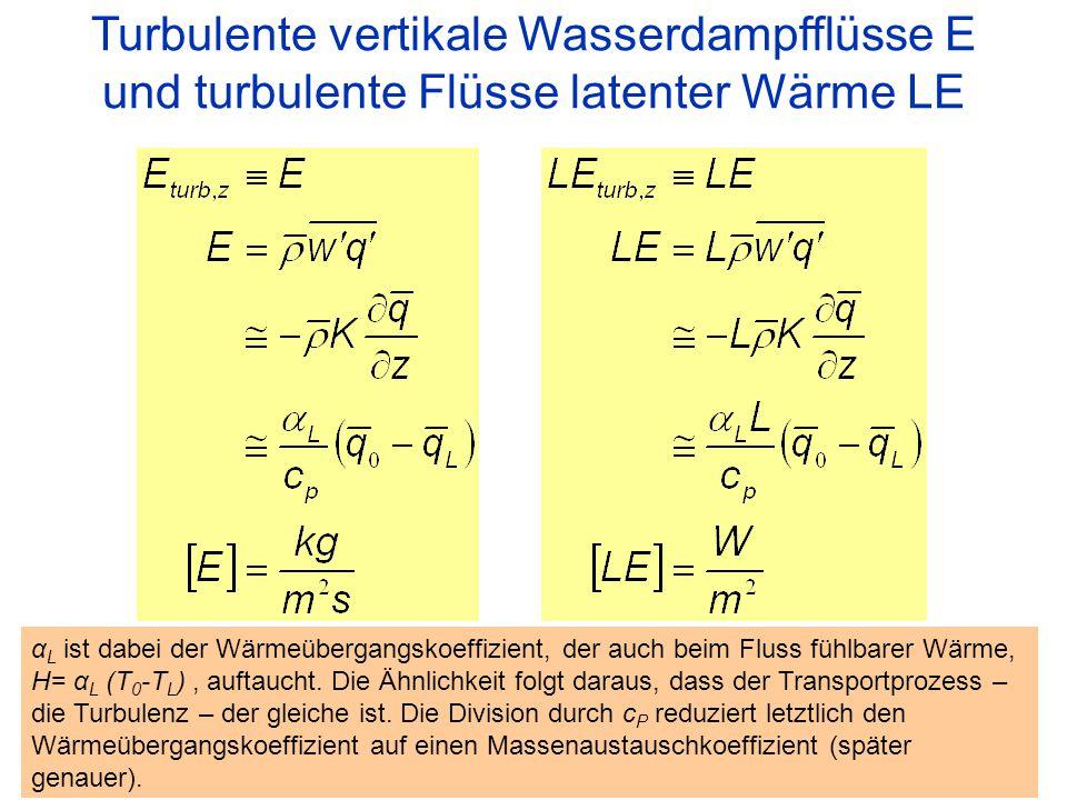 25 Turbulente vertikale Wasserdampfflüsse E und turbulente Flüsse latenter Wärme LE α L ist dabei der Wärmeübergangskoeffizient, der auch beim Fluss f