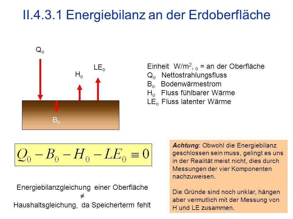 28 II.4.3.1 Energiebilanz an der Erdoberfläche QoQo LE o HoHo BoBo Einheit W/m 2, o = an der Oberfläche Q o Nettostrahlungsfluss B o Bodenwärmestrom H