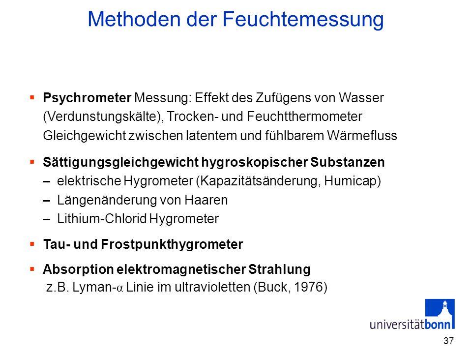 37 Methoden der Feuchtemessung  Psychrometer Messung: Effekt des Zufügens von Wasser (Verdunstungskälte), Trocken- und Feuchtthermometer Gleichgewich