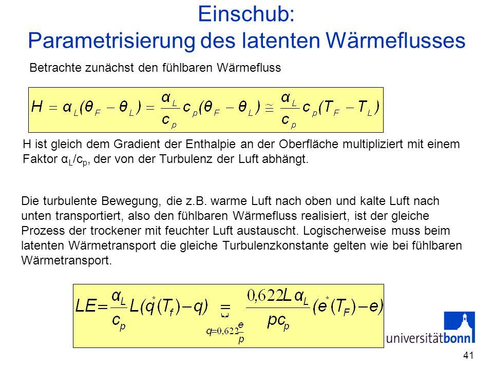 41 Einschub: Parametrisierung des latenten Wärmeflusses Betrachte zunächst den fühlbaren Wärmefluss H ist gleich dem Gradient der Enthalpie an der Obe