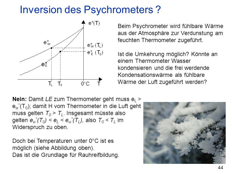 44 Inversion des Psychrometers ? Beim Psychrometer wird fühlbare Wärme aus der Atmosphäre zur Verdunstung am feuchten Thermometer zugeführt. Ist die U
