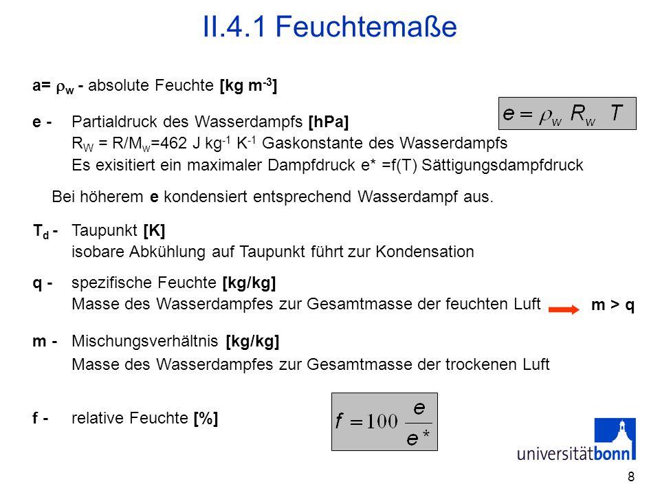 8 II.4.1 Feuchtemaße a=  w - absolute Feuchte [kg m -3 ] f -relative Feuchte [%] e -Partialdruck des Wasserdampfs [hPa] R W = R/M w =462 J kg -1 K -1