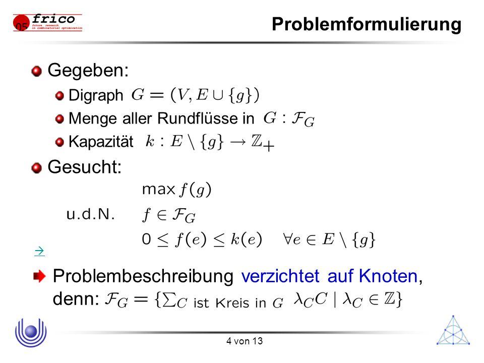 4 von 13 Problembeschreibung verzichtet auf Knoten, denn: Problemformulierung Gegeben: Digraph Menge aller Rundflüsse in Kapazität Gesucht: 