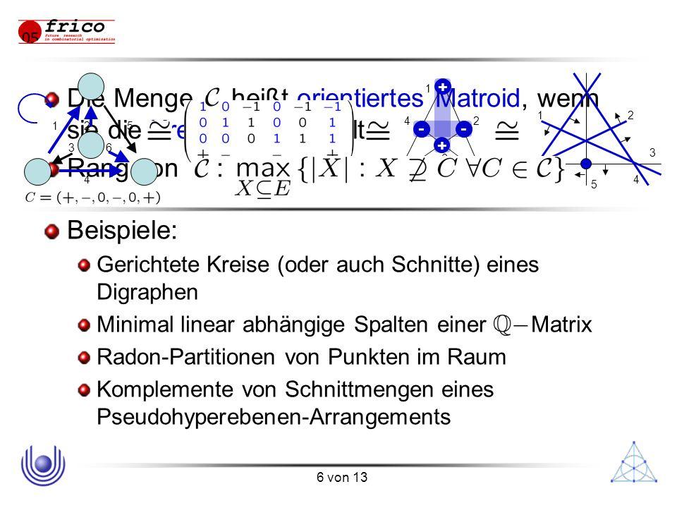 6 von 13 Die Menge heißt orientiertes Matroid, wenn sie die Kreisaxiome erfüllt Rang von : Beispiele: Gerichtete Kreise (oder auch Schnitte) eines Digraphen Minimal linear abhängige Spalten einer Matrix Radon-Partitionen von Punkten im Raum Komplemente von Schnittmengen eines Pseudohyperebenen-Arrangements 12 3 4 5 6 1 2 3 4 5 6 + + -- 12 3 4 5 6