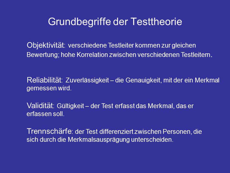 Grundbegriffe der Testtheorie Objektivität : verschiedene Testleiter kommen zur gleichen Bewertung; hohe Korrelation zwischen verschiedenen Testleitern.