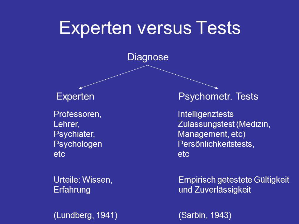 Experten versus Tests Diagnose ExpertenPsychometr.